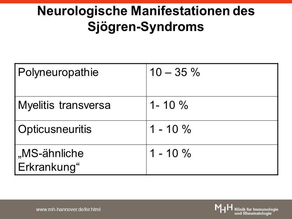 """Klinik für Immunologie und Rheumatologie www.mh-hannover.de/kir.html Neurologische Manifestationen des Sjögren-Syndroms Polyneuropathie10 – 35 % Myelitis transversa1- 10 % Opticusneuritis1 - 10 % """"MS-ähnliche Erkrankung 1 - 10 %"""