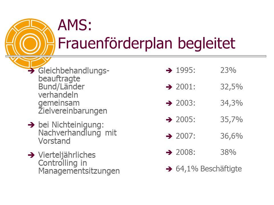 AMS: Frauenförderplan begleitet  Gleichbehandlungs- beauftragte Bund/Länder verhandeln gemeinsam Zielvereinbarungen  bei Nichteinigung: Nachverhandl