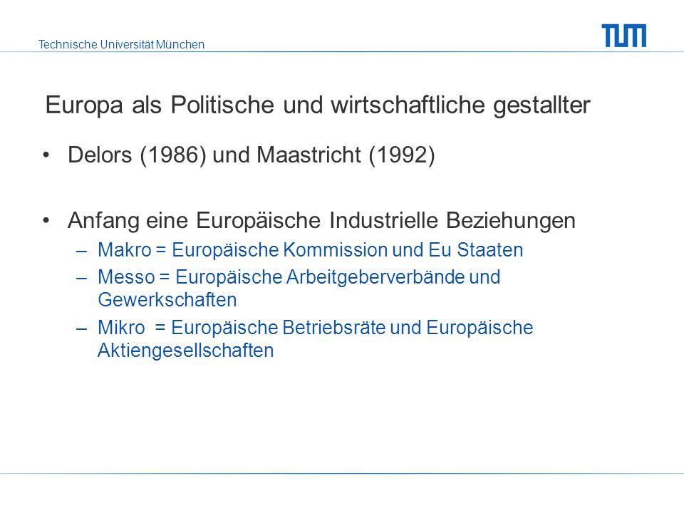 Technische Universität München Europa als Politische und wirtschaftliche gestallter Delors (1986) und Maastricht (1992) Anfang eine Europäische Industrielle Beziehungen –Makro = Europäische Kommission und Eu Staaten –Messo = Europäische Arbeitgeberverbände und Gewerkschaften –Mikro = Europäische Betriebsräte und Europäische Aktiengesellschaften