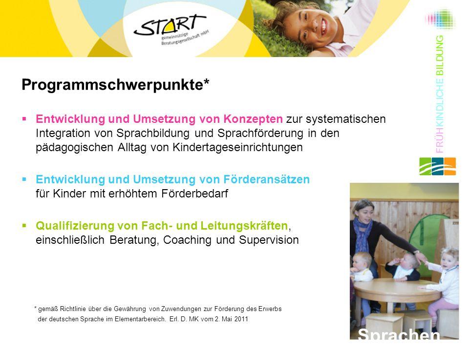 Programmschwerpunkte*  Entwicklung und Umsetzung von Konzepten zur systematischen Integration von Sprachbildung und Sprachförderung in den pädagogisc