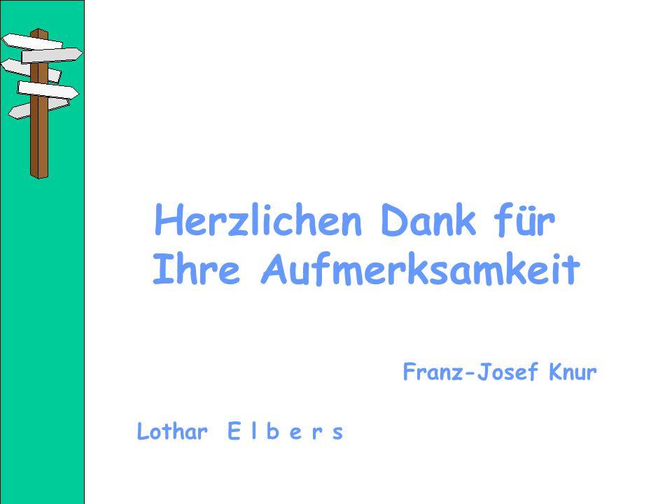 Herzlichen Dank für Ihre Aufmerksamkeit Franz-Josef Knur Lothar E l b e r s