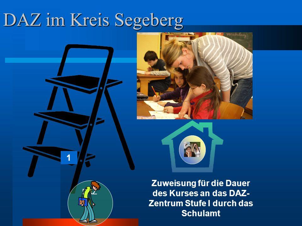 DAZ im Kreis Segeberg 1 Zuweisung für die Dauer des Kurses an das DAZ- Zentrum Stufe I durch das Schulamt DAZ II