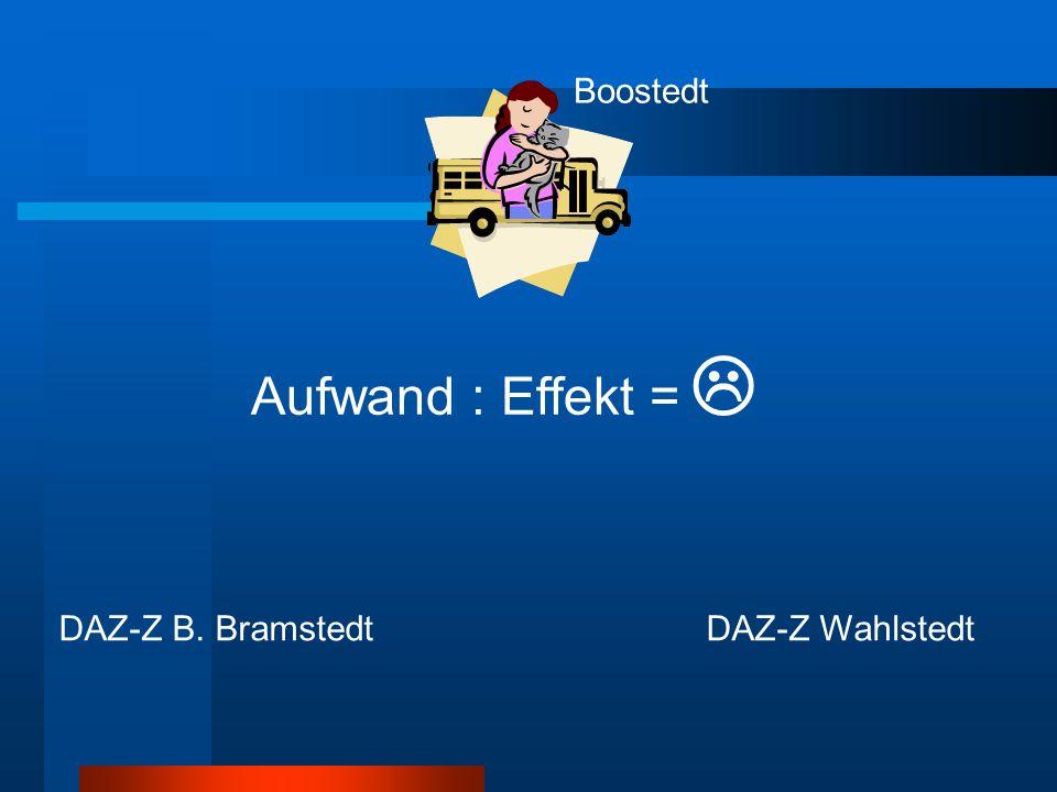 Boostedt DAZ-Z B. BramstedtDAZ-Z Wahlstedt Aufwand : Effekt = 