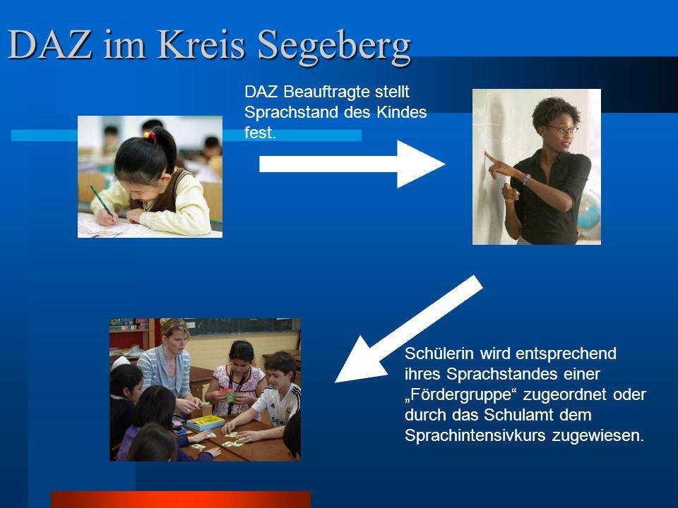 """DAZ im Kreis Segeberg DAZ Beauftragte stellt Sprachstand des Kindes fest. Schülerin wird entsprechend ihres Sprachstandes einer """"Fördergruppe"""" zugeord"""