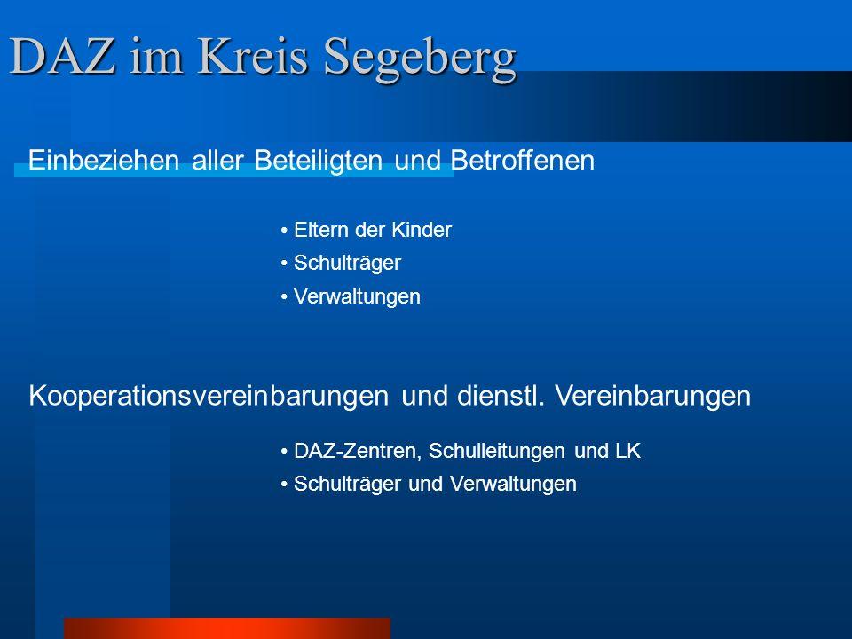 DAZ im Kreis Segeberg Einbeziehen aller Beteiligten und Betroffenen Eltern der Kinder Schulträger Verwaltungen Kooperationsvereinbarungen und dienstl.