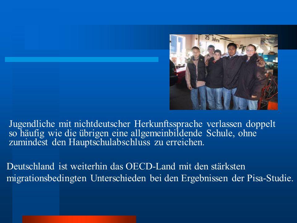 Deutschland ist weiterhin das OECD-Land mit den stärksten migrationsbedingten Unterschieden bei den Ergebnissen der Pisa-Studie. Jugendliche mit nicht