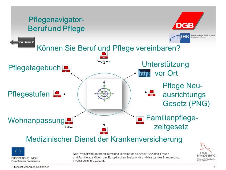 Pflegenavigator- Beruf und Pflege Unterstützung vor Ort Familienpflege- zeitgesetz 4 Das Projekt wird gefördert durch das Ministerium für Arbeit, Soziales, Frauen und Familie aus Mitteln des Europäischen Sozialfonds und des Landes Brandenburg.