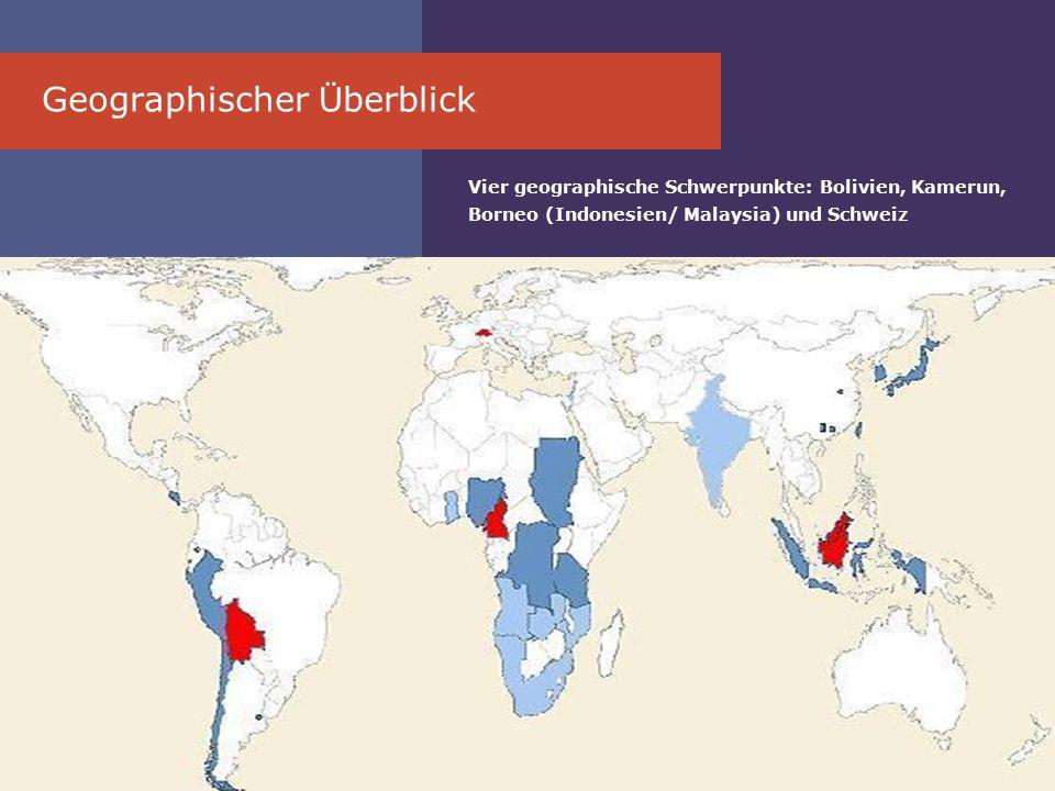 Geographischer Ü berblick Vier geographische Schwerpunkte: Bolivien, Kamerun, Borneo (Indonesien/ Malaysia) und Schweiz