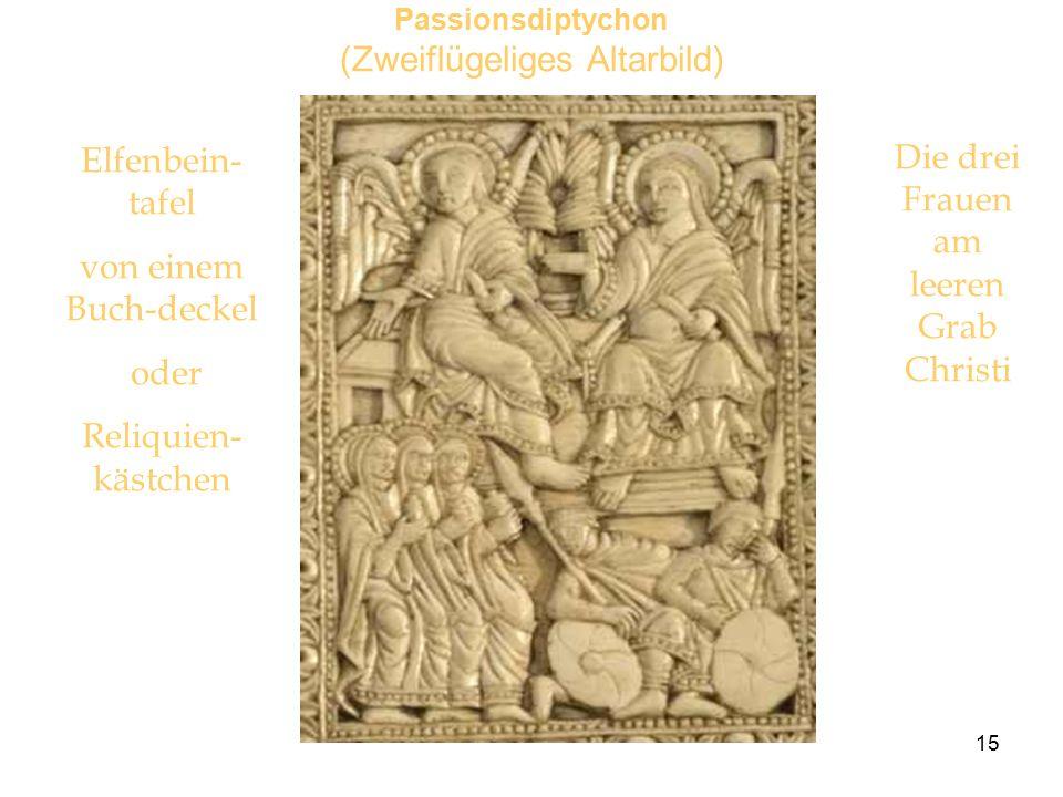 15 Passionsdiptychon (Zweiflügeliges Altarbild) Elfenbein- tafel von einem Buch-deckel oder Reliquien- kästchen Die drei Frauen am leeren Grab Christi