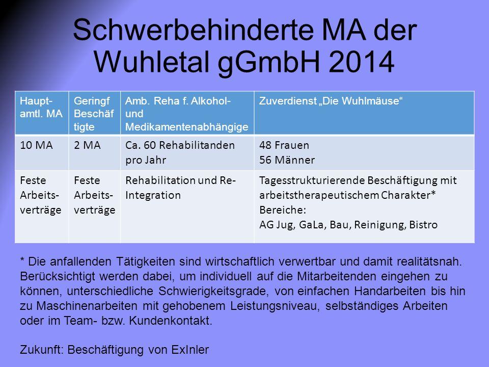 "Schwerbehinderte MA der Wuhletal gGmbH 2014 Haupt- amtl. MA Geringf Beschäf tigte Amb. Reha f. Alkohol- und Medikamentenabhängige Zuverdienst ""Die Wuh"