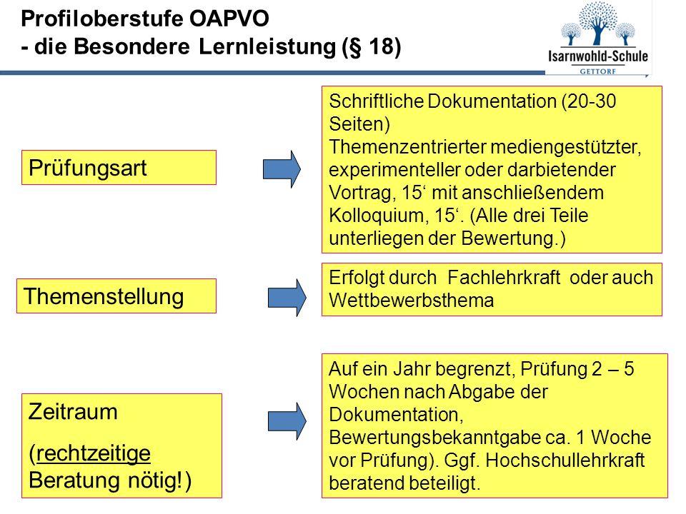 Profiloberstufe OAPVO - die Besondere Lernleistung (§ 18) Prüfungsart Schriftliche Dokumentation (20-30 Seiten) Themenzentrierter mediengestützter, experimenteller oder darbietender Vortrag, 15' mit anschließendem Kolloquium, 15'.