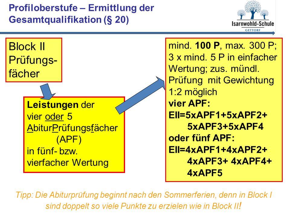 Profiloberstufe – Ermittlung der Gesamtqualifikation (§ 20) Leistungen der vier oder 5 AbiturPrüfungsfächer (APF) in fünf- bzw.