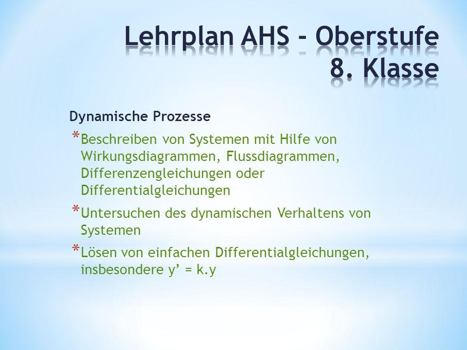 Dynamische Prozesse * Beschreiben von Systemen mit Hilfe von Wirkungsdiagrammen, Flussdiagrammen, Differenzengleichungen oder Differentialgleichungen * Untersuchen des dynamischen Verhaltens von Systemen * Lösen von einfachen Differentialgleichungen, insbesondere y' = k.y