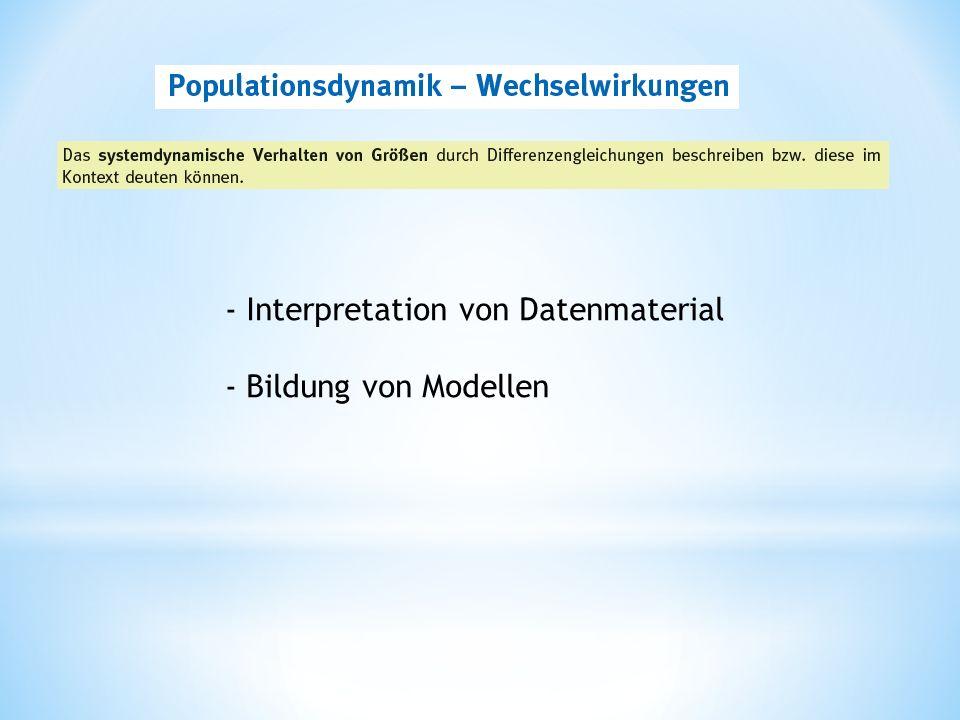 - Interpretation von Datenmaterial - Bildung von Modellen