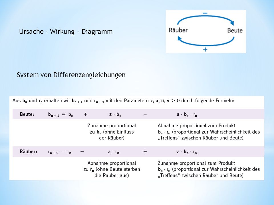 Ursache – Wirkung - Diagramm System von Differenzengleichungen