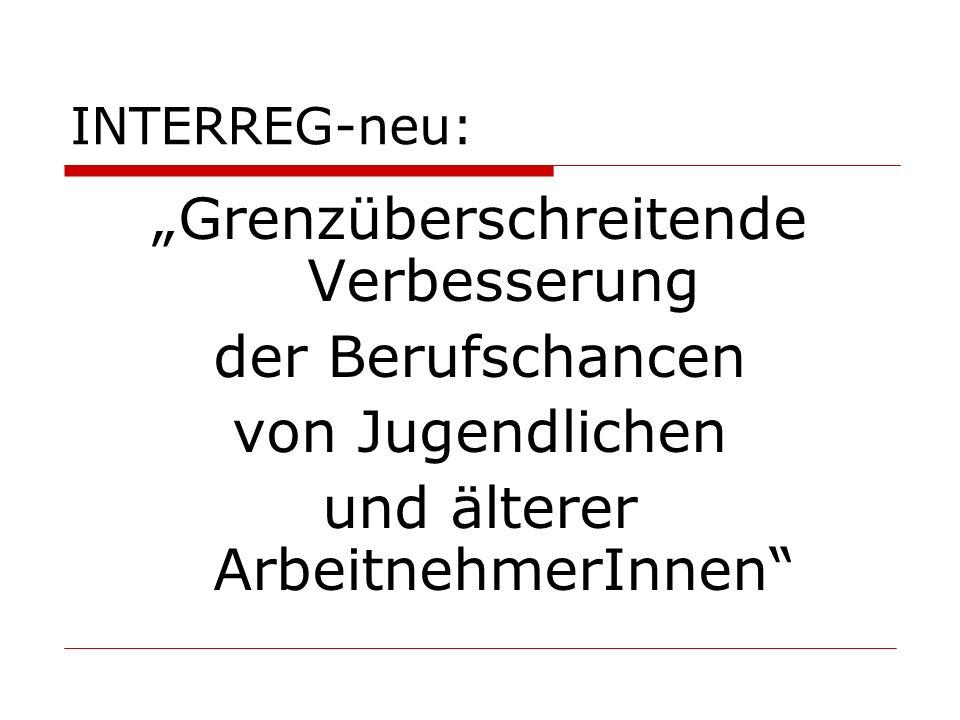 """INTERREG-neu: """"Grenzüberschreitende Verbesserung der Berufschancen von Jugendlichen und älterer ArbeitnehmerInnen"""""""