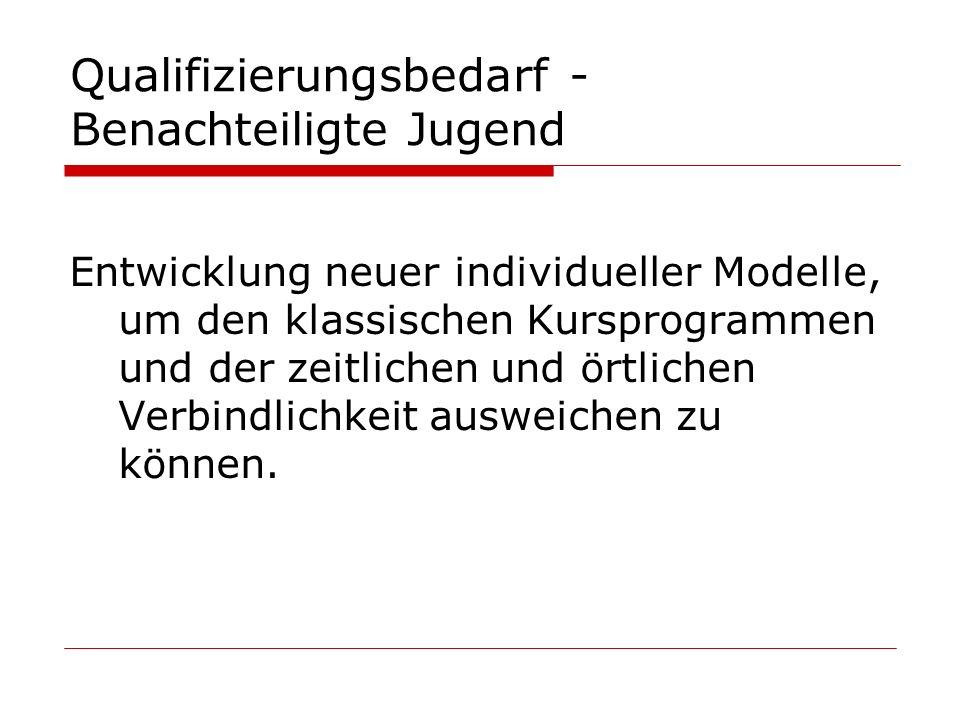 Qualifizierungsbedarf - Benachteiligte Jugend Entwicklung neuer individueller Modelle, um den klassischen Kursprogrammen und der zeitlichen und örtlic