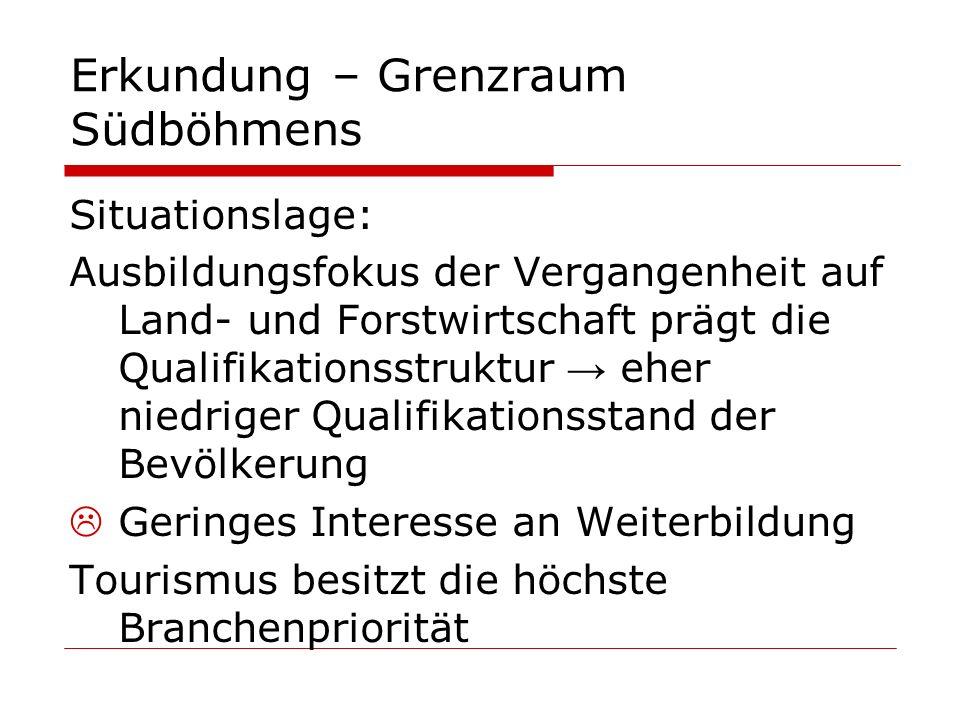 Erkundung – Grenzraum Südböhmens Situationslage: Ausbildungsfokus der Vergangenheit auf Land- und Forstwirtschaft prägt die Qualifikationsstruktur → e