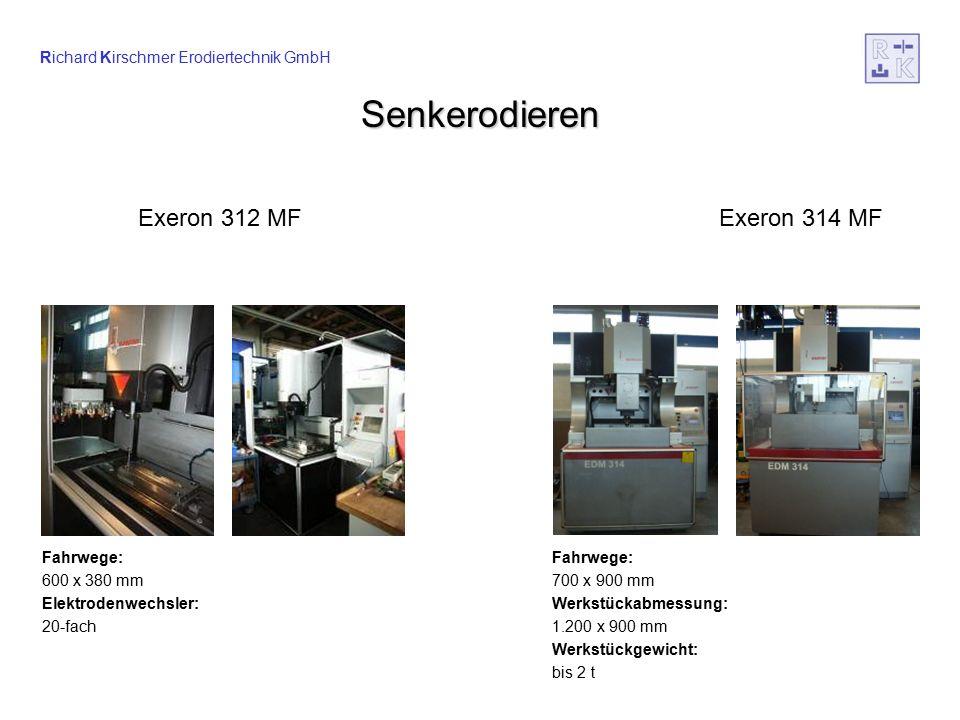 Richard Kirschmer Erodiertechnik GmbH Startlocherodieren Fahrwege: 1.000 – 600 mm, 600 mm hoch Werkstückgewicht: bis 3 t Bohrungs-Durchmesser: 0,2 – 4 mm (auch in Hartmetall) Bes SL 1060 – CNC