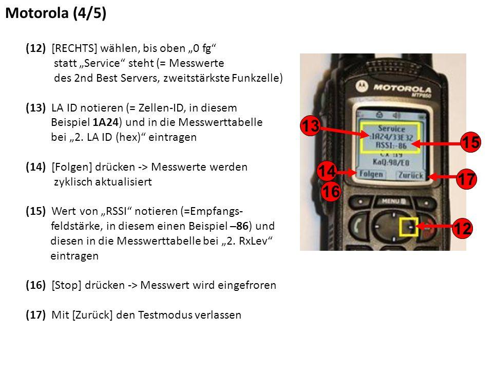 """Motorola (4/5) (12) [RECHTS] wählen, bis oben """"0 fg statt """"Service steht (= Messwerte des 2nd Best Servers, zweitstärkste Funkzelle) (13) LA ID notieren (= Zellen-ID, in diesem Beispiel 1A24) und in die Messwerttabelle bei """"2."""