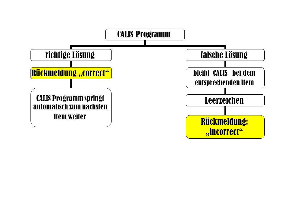 "CALIS Programm richtige LösungRückmeldung ""correct CALIS Programm springt automatisch zum nächsten Item weiter falsche Lösung bleibt CALIS bei dem entsprechenden Item Leerzeichen Rückmeldung: ""incorrect"
