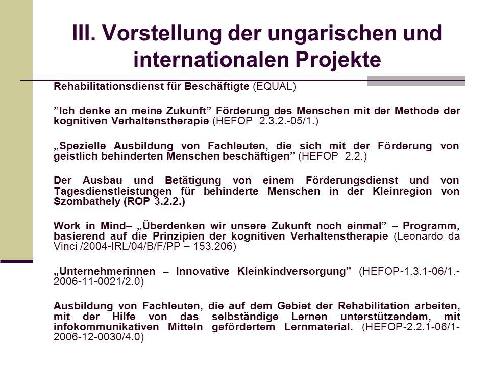 """III. Vorstellung der ungarischen und internationalen Projekte Rehabilitationsdienst für Beschäftigte (EQUAL) """"Ich denke an meine Zukunft"""" Förderung d"""