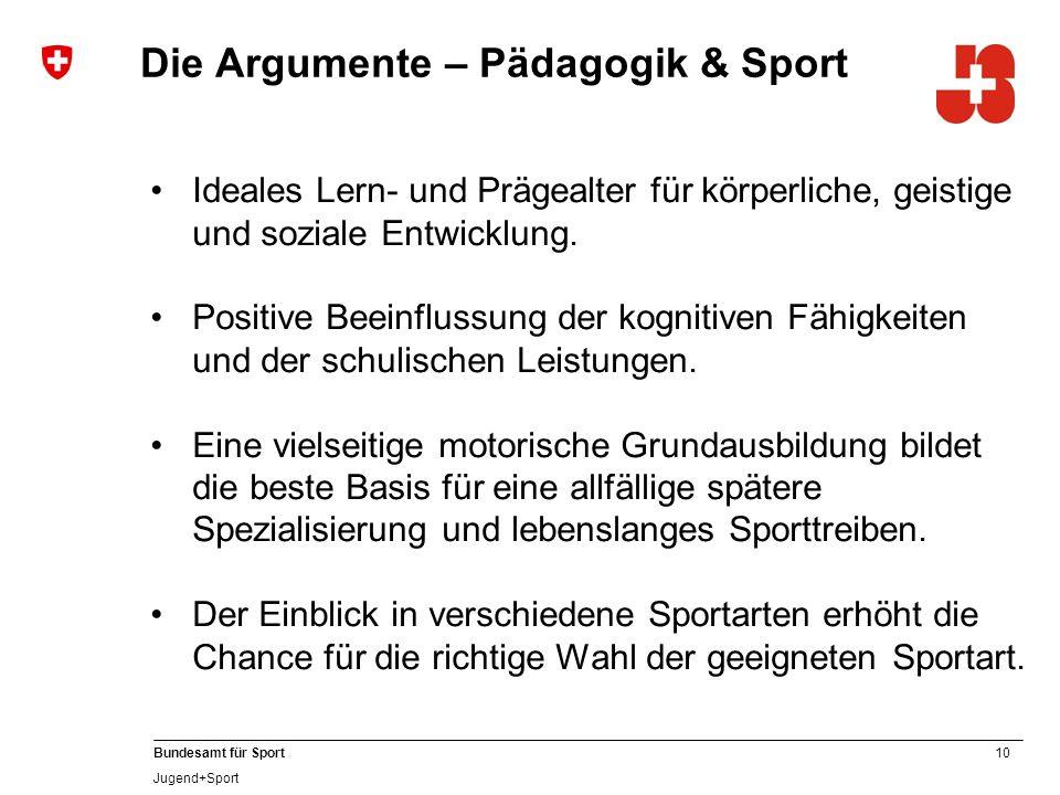 10 Bundesamt für Sport Jugend+Sport Ideales Lern- und Prägealter für körperliche, geistige und soziale Entwicklung.