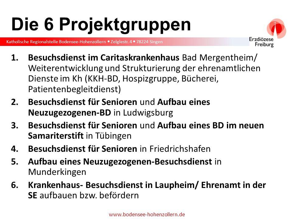 Katholische Regionalstelle Bodensee-Hohenzollern  Zelglestr. 4  78224 Singen www.bodensee-hohenzollern.de Die 6 Projektgruppen 1.Besuchsdienst im Ca