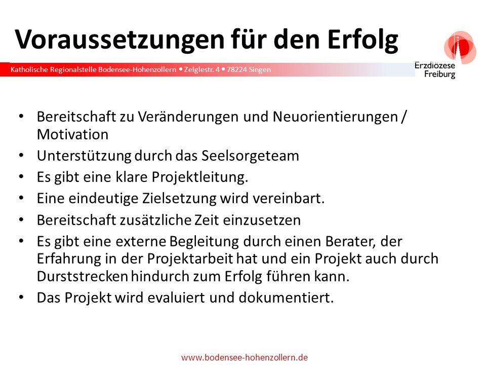 Katholische Regionalstelle Bodensee-Hohenzollern  Zelglestr. 4  78224 Singen www.bodensee-hohenzollern.de Voraussetzungen für den Erfolg Bereitschaf
