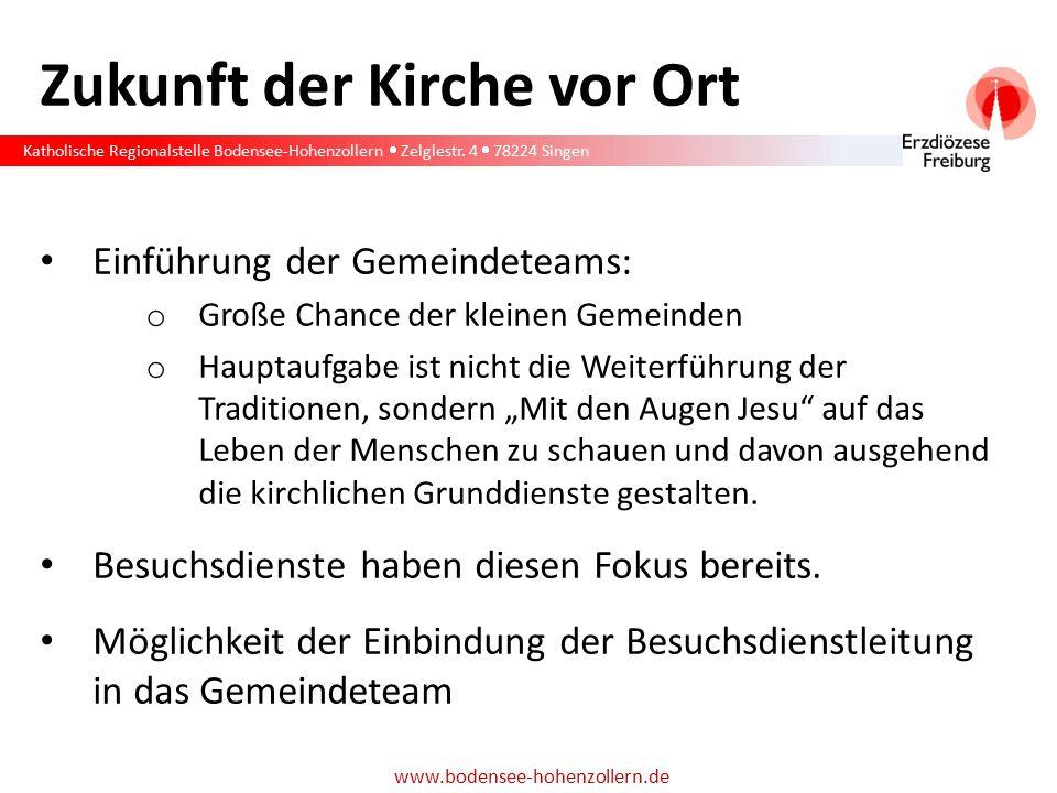 Katholische Regionalstelle Bodensee-Hohenzollern  Zelglestr. 4  78224 Singen www.bodensee-hohenzollern.de Zukunft der Kirche vor Ort Einführung der