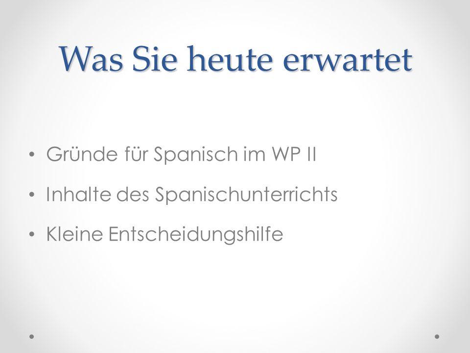 Was Sie heute erwartet Gründe für Spanisch im WP II Inhalte des Spanischunterrichts Kleine Entscheidungshilfe
