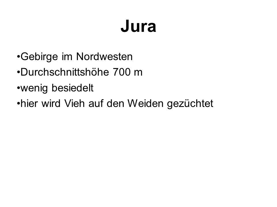 Jura Gebirge im Nordwesten Durchschnittshöhe 700 m wenig besiedelt hier wird Vieh auf den Weiden gezüchtet