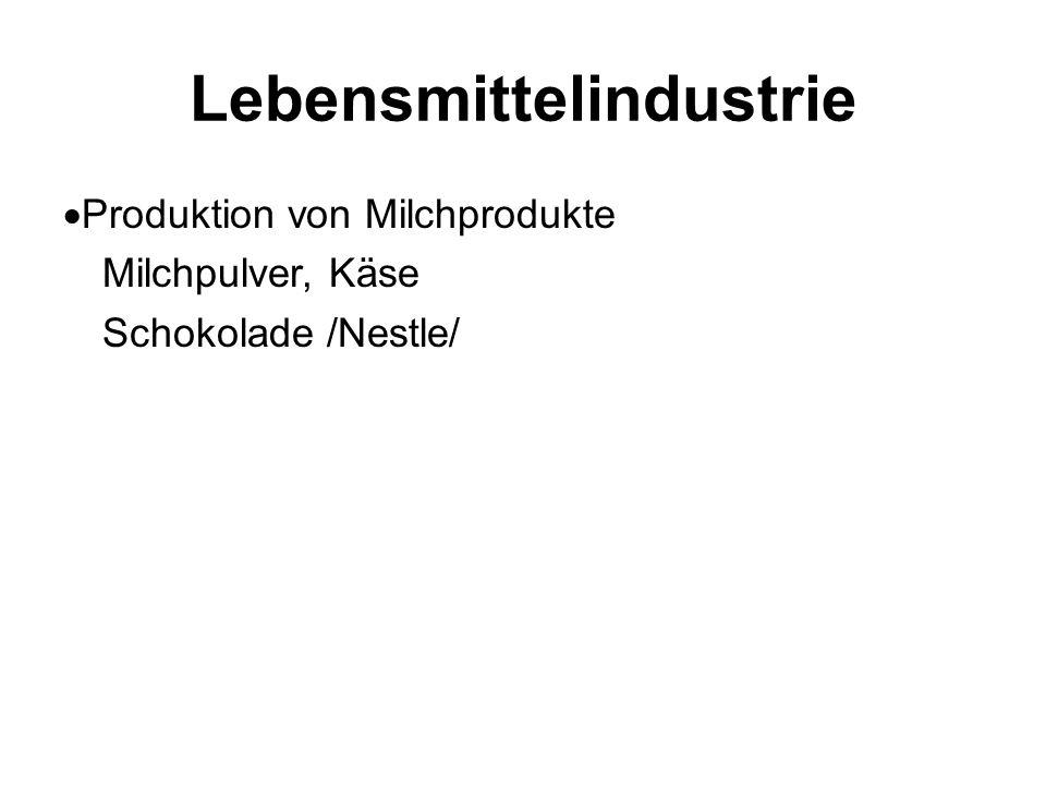 Lebensmittelindustrie  Produktion von Milchprodukte Milchpulver, Käse Schokolade /Nestle/