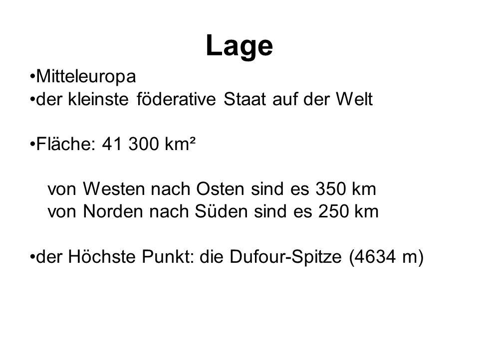 Lage Mitteleuropa der kleinste föderative Staat auf der Welt Fläche: 41 300 km² von Westen nach Osten sind es 350 km von Norden nach Süden sind es 250 km der Höchste Punkt: die Dufour-Spitze (4634 m)