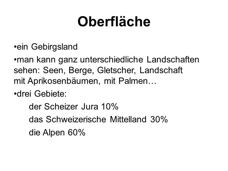 Oberfläche ein Gebirgsland man kann ganz unterschiedliche Landschaften sehen: Seen, Berge, Gletscher, Landschaft mit Aprikosenbäumen, mit Palmen… drei Gebiete: der Scheizer Jura 10% das Schweizerische Mittelland 30% die Alpen 60%