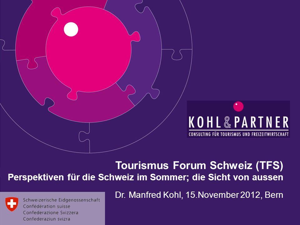 Tourismus Forum Schweiz (TFS) Perspektiven für die Schweiz im Sommer; die Sicht von aussen Dr. Manfred Kohl, 15.November 2012, Bern