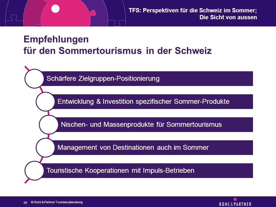 TFS: Perspektiven für die Schweiz im Sommer; Die Sicht von aussen Empfehlungen für den Sommertourismus in der Schweiz 20 © Kohl & Partner Tourismusber