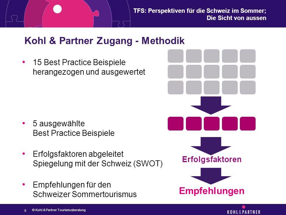 TFS: Perspektiven für die Schweiz im Sommer; Die Sicht von aussen Kohl & Partner Zugang - Methodik 5 Erfolgsfaktoren Empfehlungen 15 Best Practice Bei
