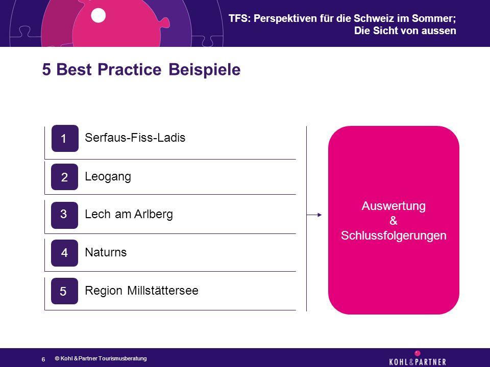 TFS: Perspektiven für die Schweiz im Sommer; Die Sicht von aussen 5 Best Practice Beispiele 6 © Kohl & Partner Tourismusberatung Auswertung & Schlussf