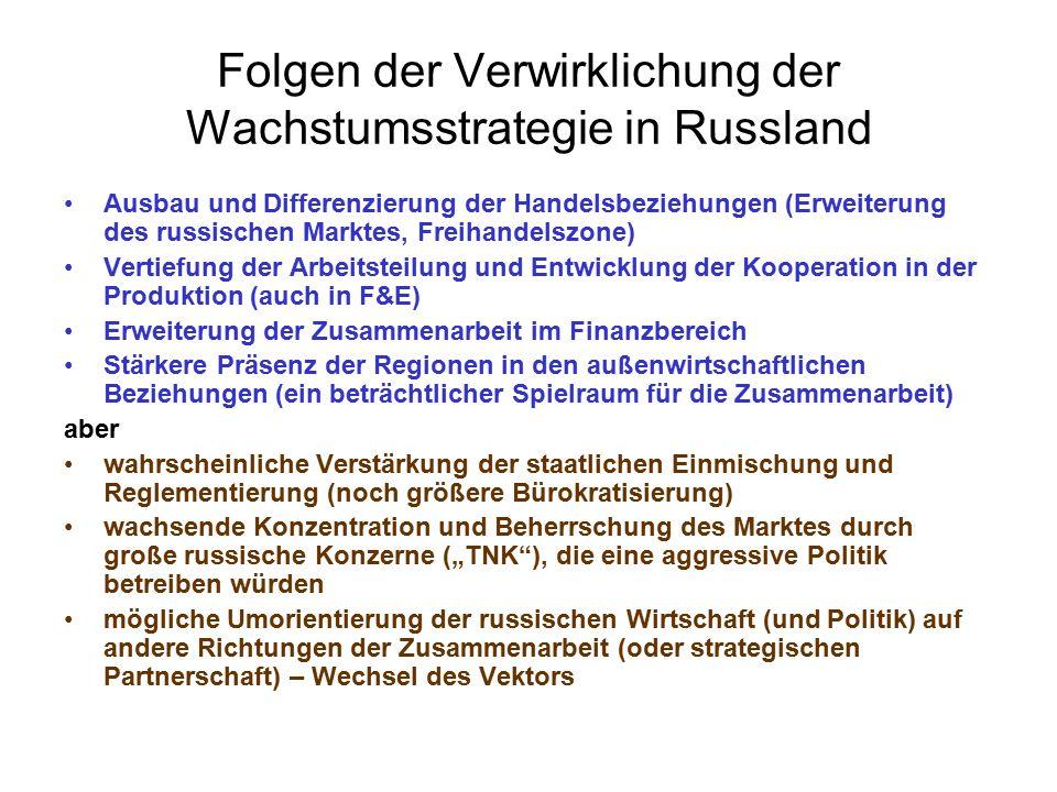 """Folgen der Verwirklichung der Wachstumsstrategie in Russland Ausbau und Differenzierung der Handelsbeziehungen (Erweiterung des russischen Marktes, Freihandelszone) Vertiefung der Arbeitsteilung und Entwicklung der Kooperation in der Produktion (auch in F&E) Erweiterung der Zusammenarbeit im Finanzbereich Stärkere Präsenz der Regionen in den außenwirtschaftlichen Beziehungen (ein beträchtlicher Spielraum für die Zusammenarbeit) aber wahrscheinliche Verstärkung der staatlichen Einmischung und Reglementierung (noch größere Bürokratisierung) wachsende Konzentration und Beherrschung des Marktes durch große russische Konzerne (""""TNK ), die eine aggressive Politik betreiben würden mögliche Umorientierung der russischen Wirtschaft (und Politik) auf andere Richtungen der Zusammenarbeit (oder strategischen Partnerschaft) – Wechsel des Vektors"""