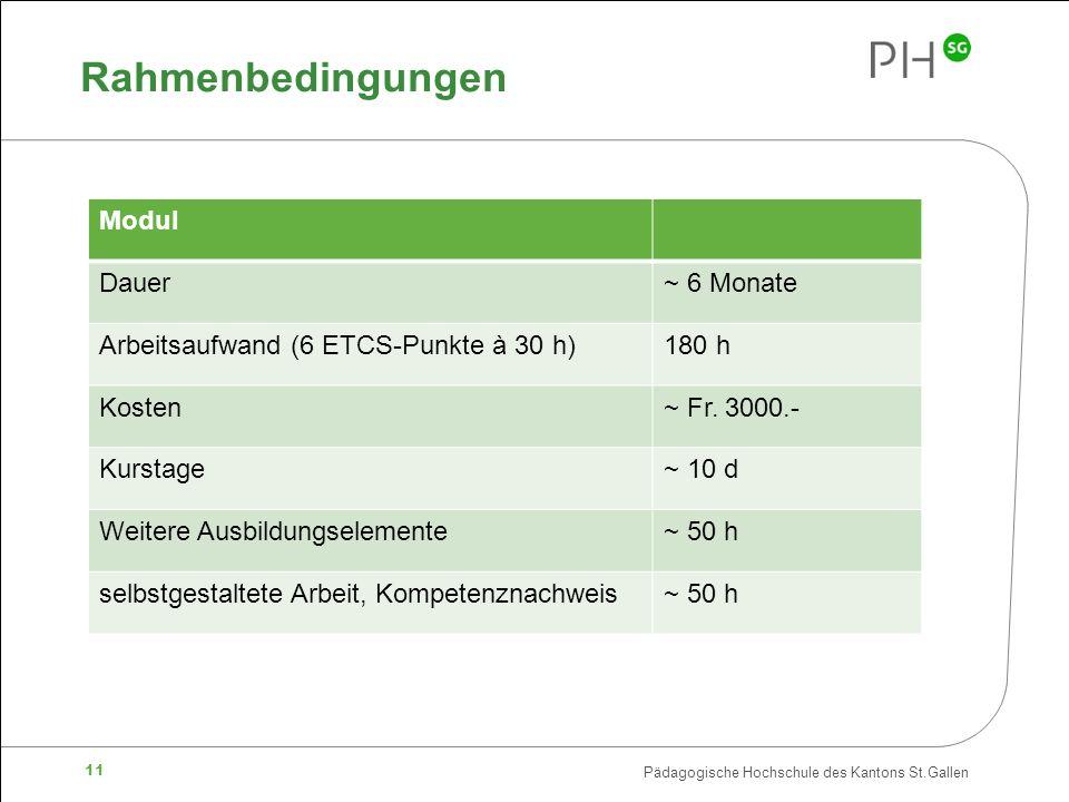 Pädagogische Hochschule des Kantons St.Gallen 11 Rahmenbedingungen Modul Dauer~ 6 Monate Arbeitsaufwand (6 ETCS-Punkte à 30 h)180 h Kosten~ Fr. 3000.-