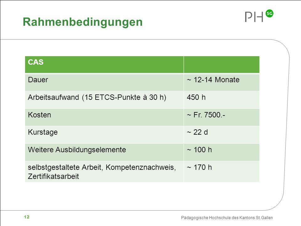 Pädagogische Hochschule des Kantons St.Gallen 12 Rahmenbedingungen CAS Dauer~ 12-14 Monate Arbeitsaufwand (15 ETCS-Punkte à 30 h)450 h Kosten~ Fr. 750