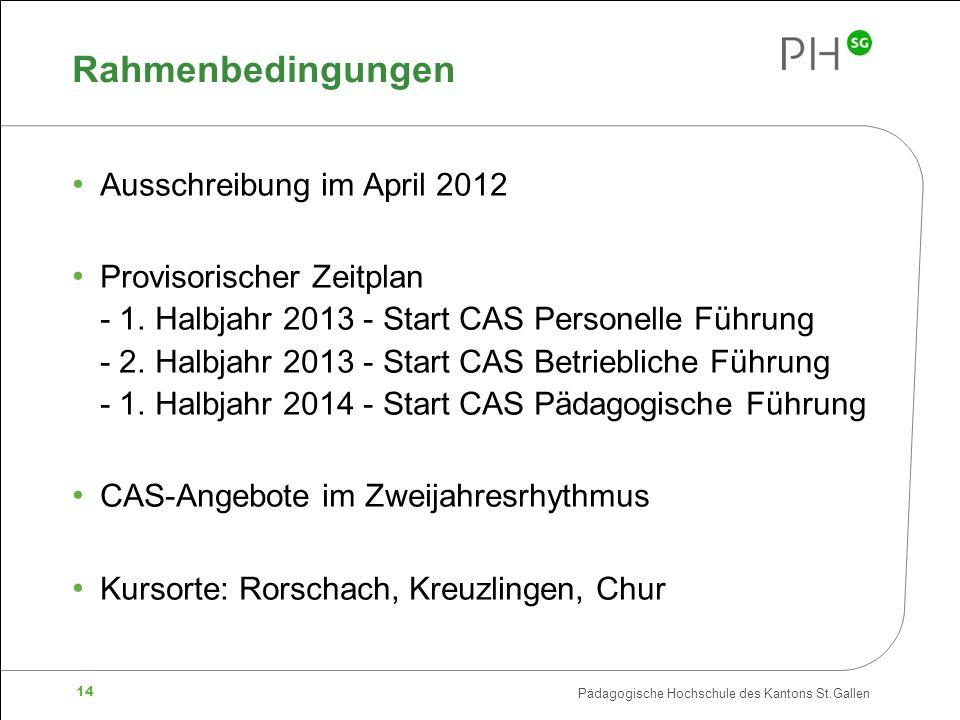 Pädagogische Hochschule des Kantons St.Gallen 14 Rahmenbedingungen Ausschreibung im April 2012 Provisorischer Zeitplan - 1. Halbjahr 2013 - Start CAS