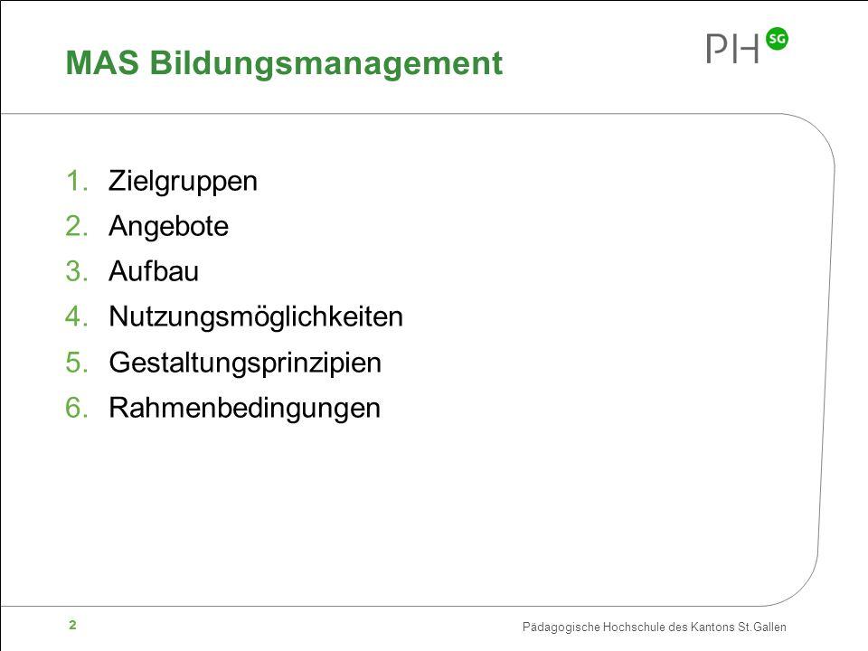 Pädagogische Hochschule des Kantons St.Gallen 2 MAS Bildungsmanagement 1.Zielgruppen 2.Angebote 3.Aufbau 4.Nutzungsmöglichkeiten 5.Gestaltungsprinzipien 6.Rahmenbedingungen
