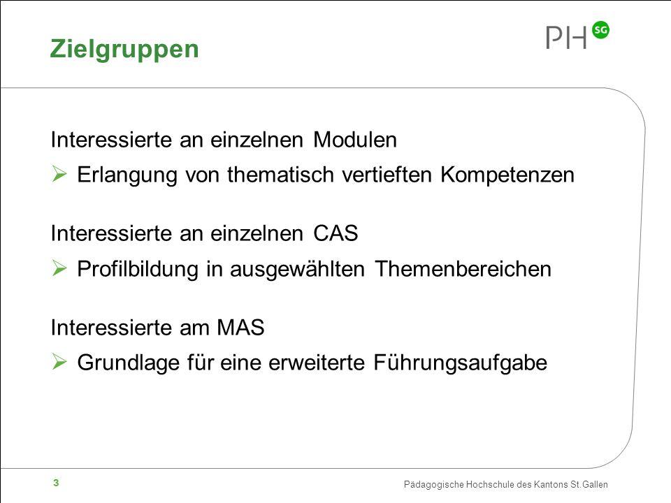 Pädagogische Hochschule des Kantons St.Gallen 3 Zielgruppen Interessierte an einzelnen Modulen  Erlangung von thematisch vertieften Kompetenzen Interessierte an einzelnen CAS  Profilbildung in ausgewählten Themenbereichen Interessierte am MAS  Grundlage für eine erweiterte Führungsaufgabe
