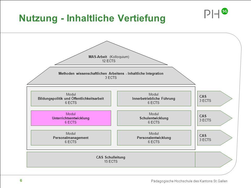 Pädagogische Hochschule des Kantons St.Gallen 6 Nutzung - Inhaltliche Vertiefung MAS-Arbeit (Kolloquium) 12 ECTS Methoden wissenschaftlichen Arbeitens