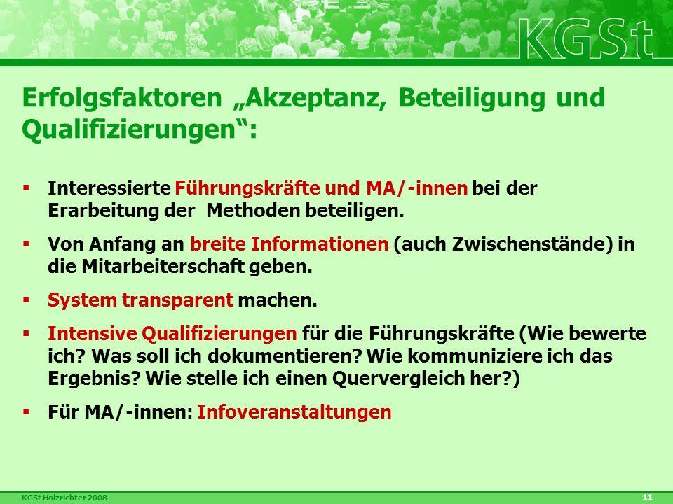 """KGSt Holzrichter 2008 11 Erfolgsfaktoren """"Akzeptanz, Beteiligung und Qualifizierungen :  Interessierte Führungskräfte und MA/-innen bei der Erarbeitung der Methoden beteiligen."""
