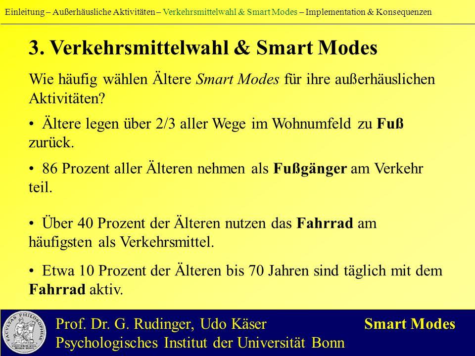 3. Verkehrsmittelwahl & Smart Modes Wie häufig wählen Ältere Smart Modes für ihre außerhäuslichen Aktivitäten? Ältere legen über 2/3 aller Wege im Woh