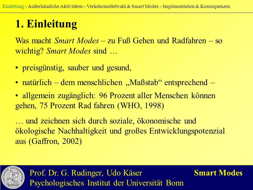 Einleitung – Außerhäusliche Aktivitäten – Verkehrsmittelwahl & Smart Modes – Implementation & Konsequenzen 1.