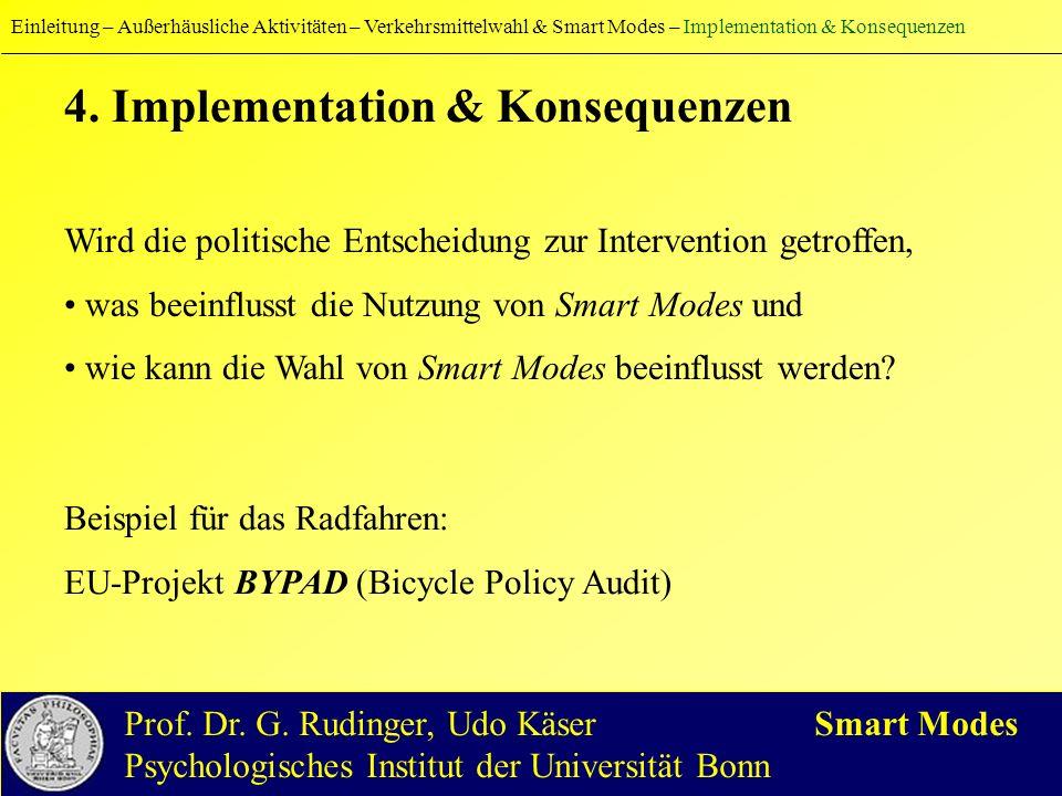 4. Implementation & Konsequenzen Wird die politische Entscheidung zur Intervention getroffen, was beeinflusst die Nutzung von Smart Modes und wie kann
